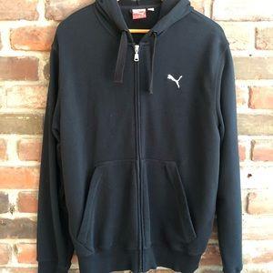 Men's Puma Black Sweatshirt/Zip Up Hoodie - Medium